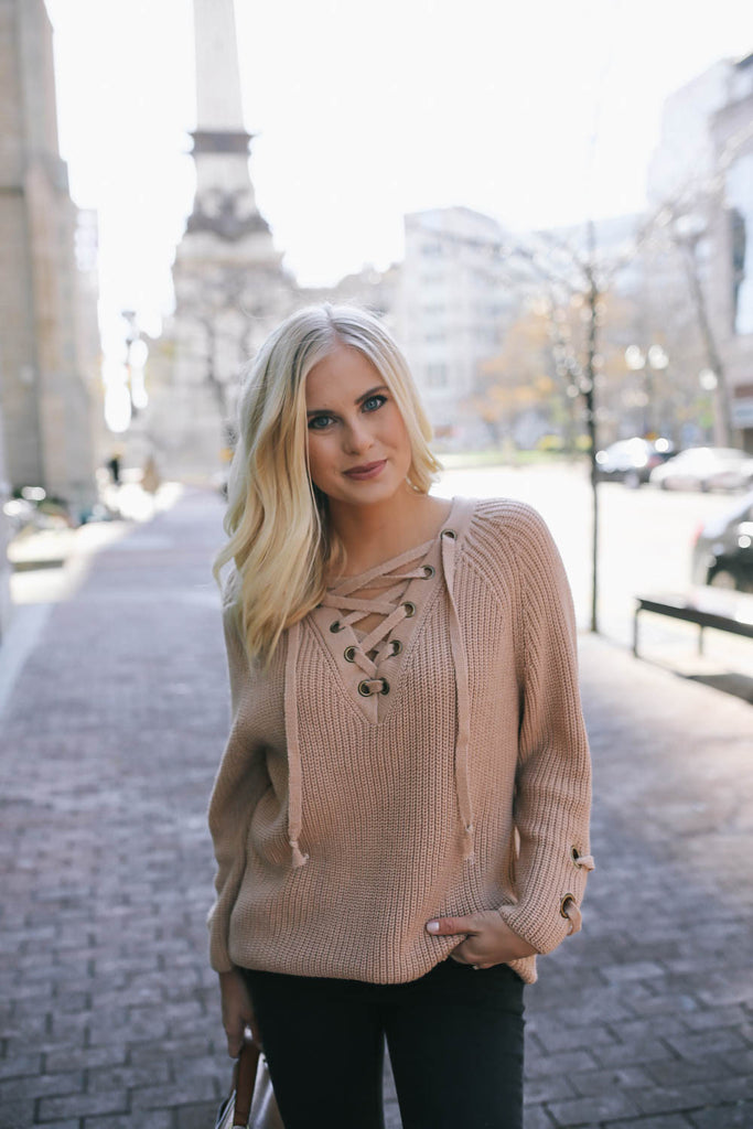 Affordable Online evergreen lace up sweater beige