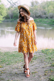 Carbondale Floral Dress In Mustard