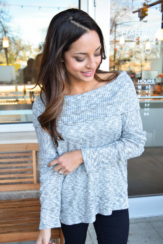 Affordable Online off shoulder rib knit top gray