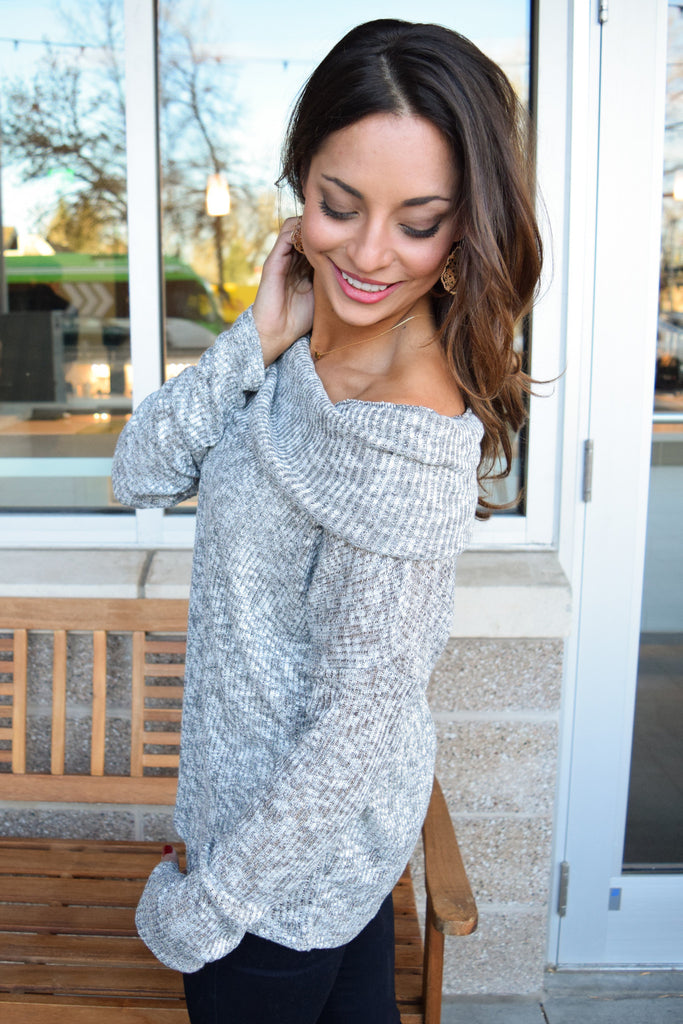 Trendy Online Off Shoulder Rib Knit Top Gray