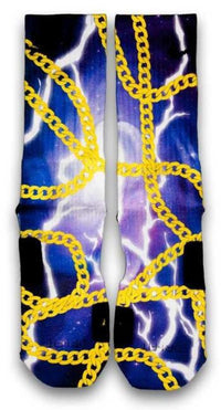 24K King Gold Chains Custom Elite Socks - CustomizeEliteSocks.com - 2