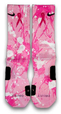Breast Cancer A Splash of Pink Custom Elite Socks - CustomizeEliteSocks.com - 1