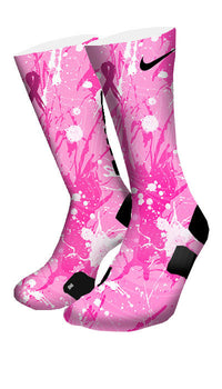 Breast Cancer A Splash of Pink Custom Elite Socks - CustomizeEliteSocks.com - 4