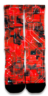 Crimson Laser Red CES Custom Socks - CustomizeEliteSocks.com - 1