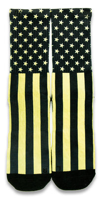 Gold Stars & Stripes CES Custom Socks - CustomizeEliteSocks.com - 1