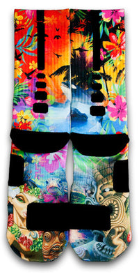 Hawaiian Flow Custom Elite Socks - CustomizeEliteSocks.com - 2