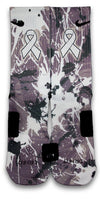 Lung Cancer A Splash of White Custom Elite Socks - CustomizeEliteSocks.com - 1
