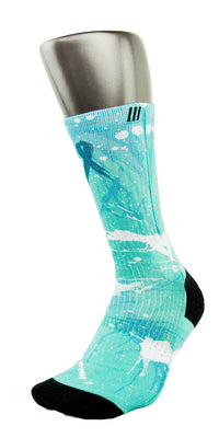 Ovarian Cancer A Splash of Teal CES Custom Socks - CustomizeEliteSocks.com - 3