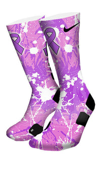 Pancreatic Cancer A Splash of Purple Custom Elite Socks - CustomizeEliteSocks.com - 4
