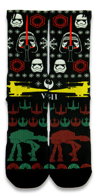 Star Wars Ugly Sweater CES Custom Socks - CustomizeEliteSocks.com - 1