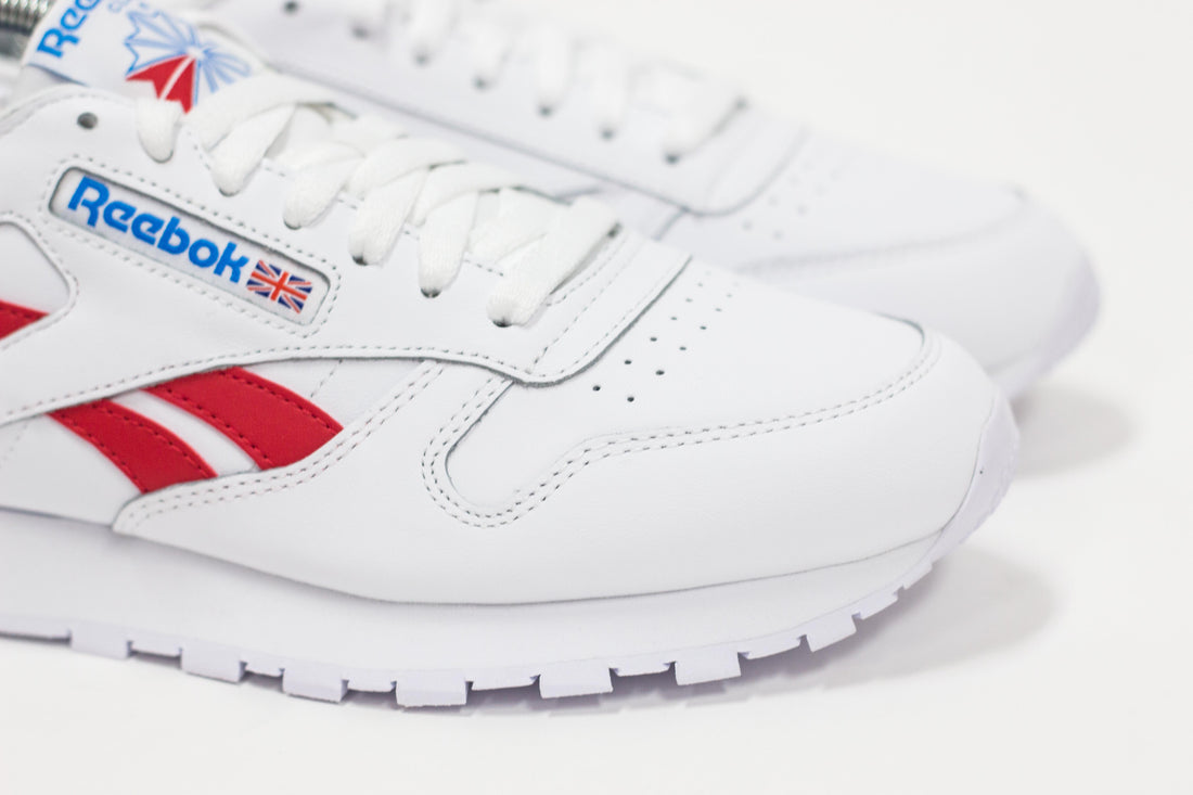 Reebok CL Leather (White/Vector Red/Horizon Blue)