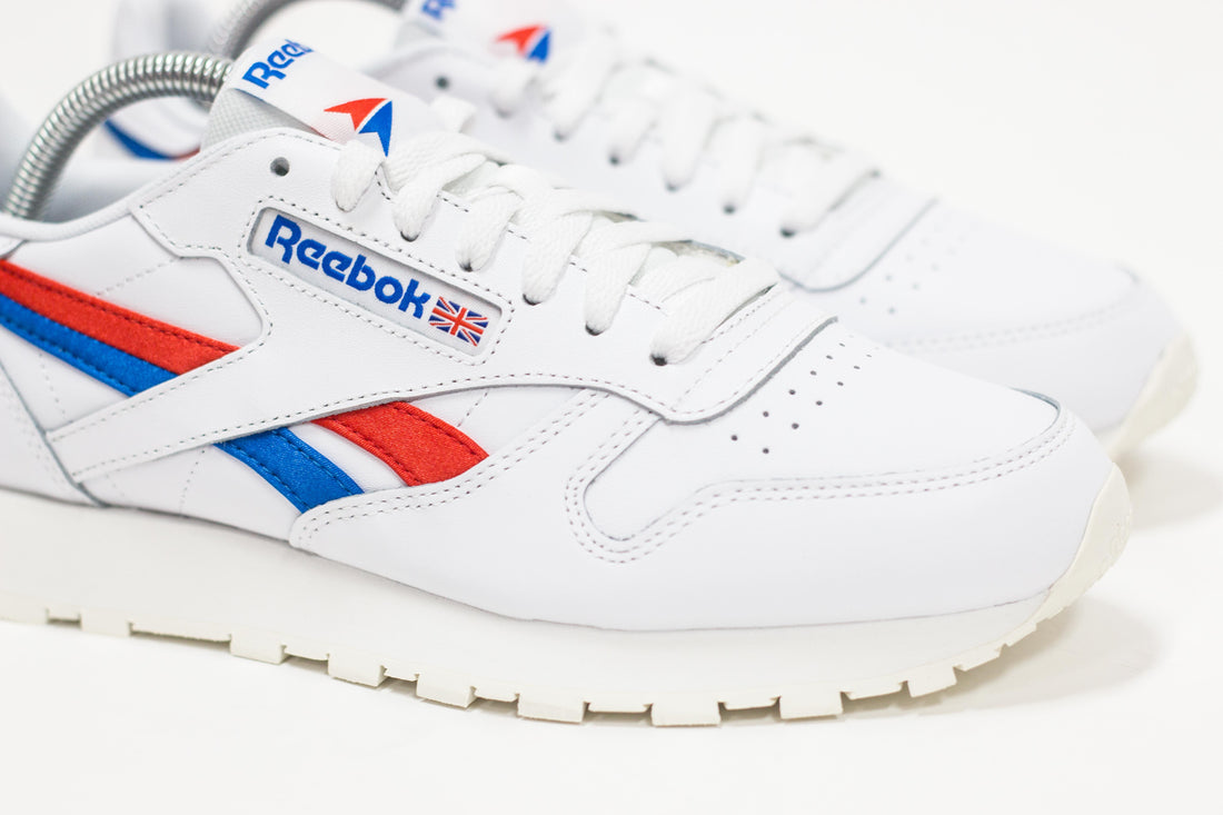 Reebok CL Leather (White/Instinct Red/Dynamic Blue)