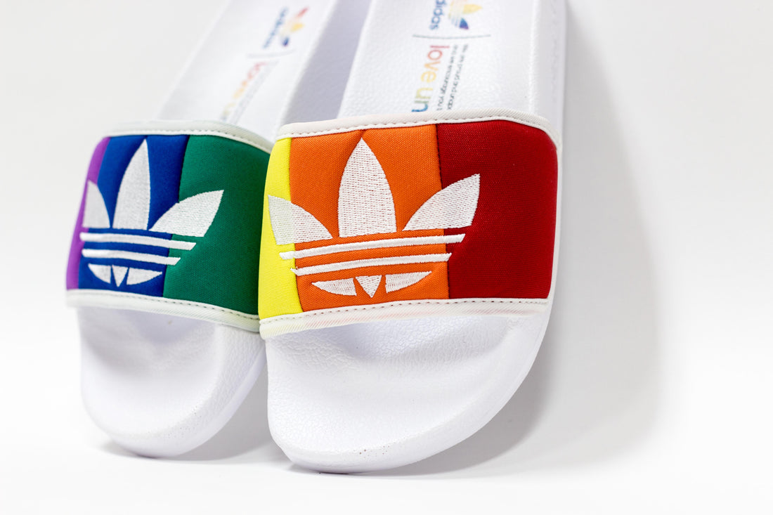Adidas Adilette Pride (Footwear White/Orange/Scarlet)