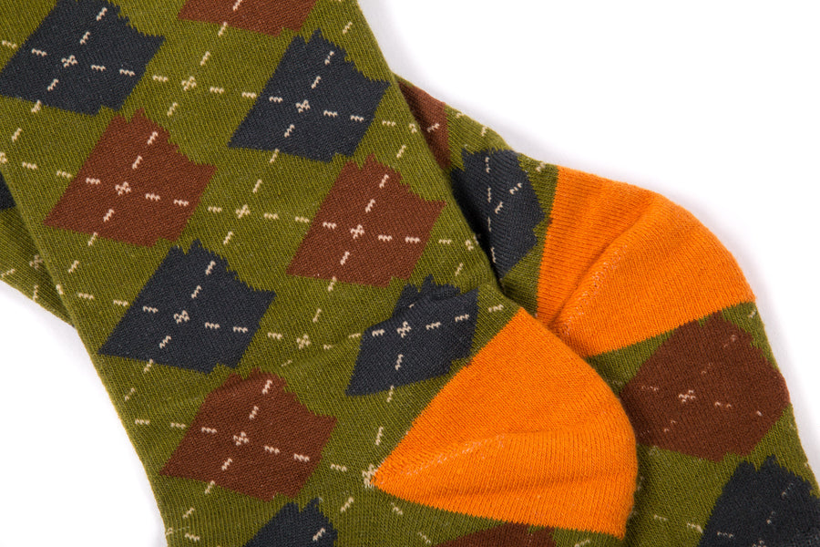 Arkansocks Argyle State of Mind (Deep Mandarin/Olive)
