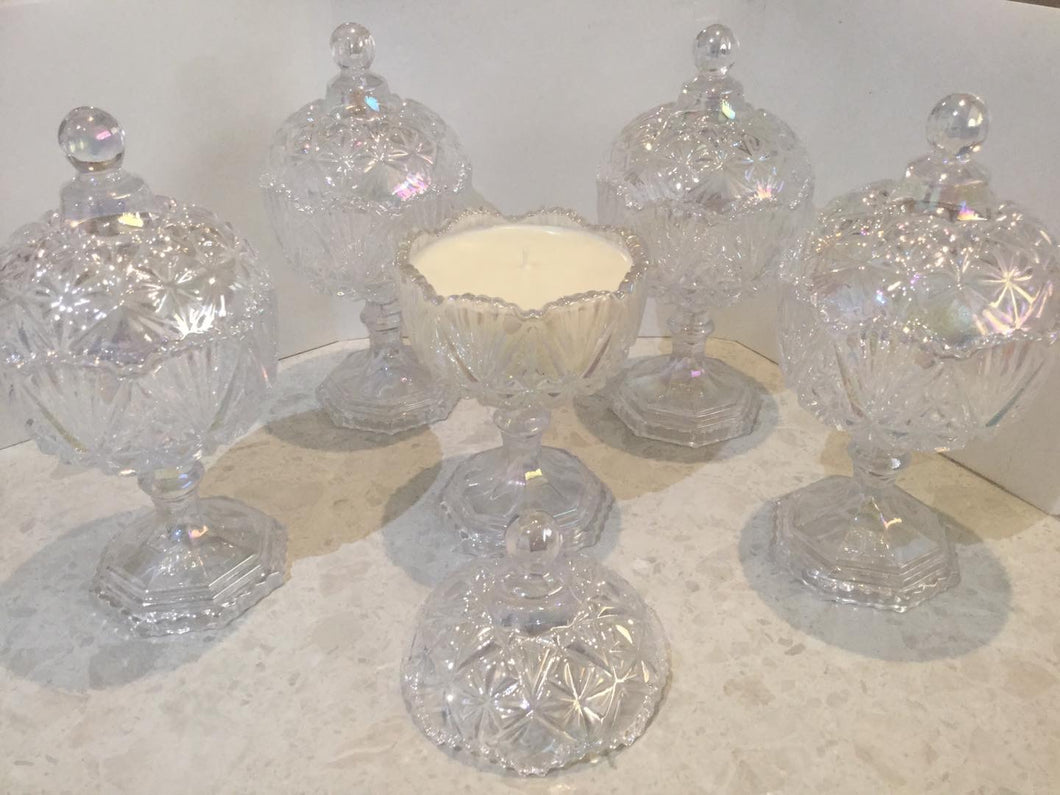 Crystal, sparkling holographic look candle bowl candles
