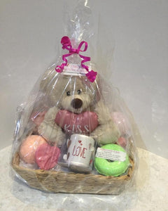 Gift pamper pack with teddy, Candle, bath bombs and Goat's milk soaps