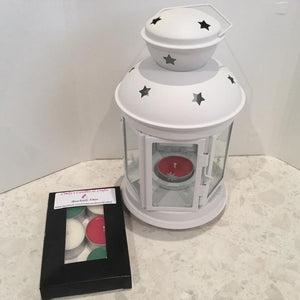 Christmas lantern  Tealight burner with 6 pack of scented tealights