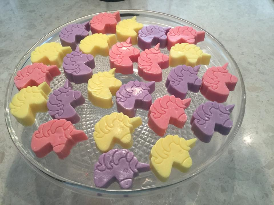 Unicorn soaps - pack of 3, cellophaned with ribbon