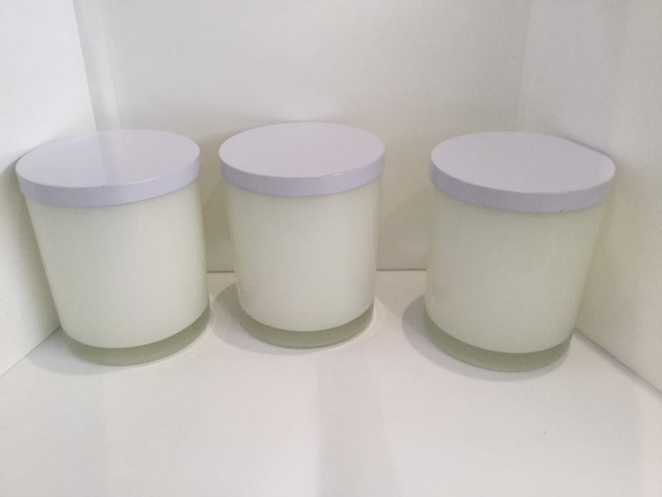Candle Jars - 300 gm - Clear, white, black, purple or frosted with lids