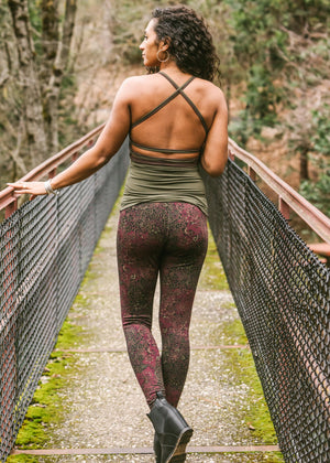 Victoria Leggings - Black/Burgundy