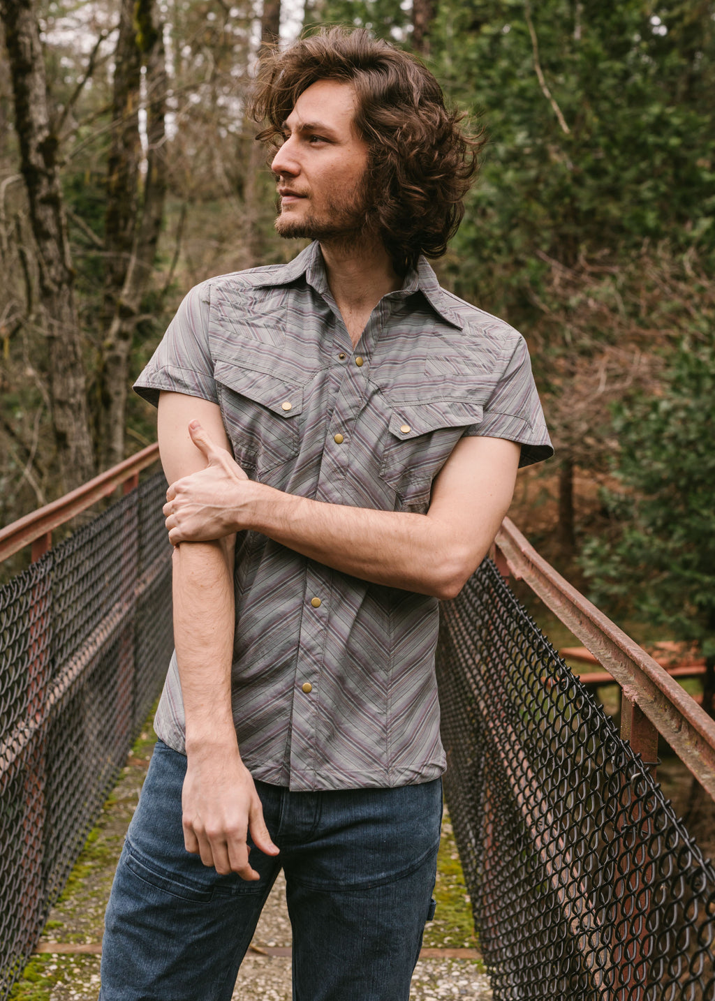 Striped Gayya Shirt - Grey