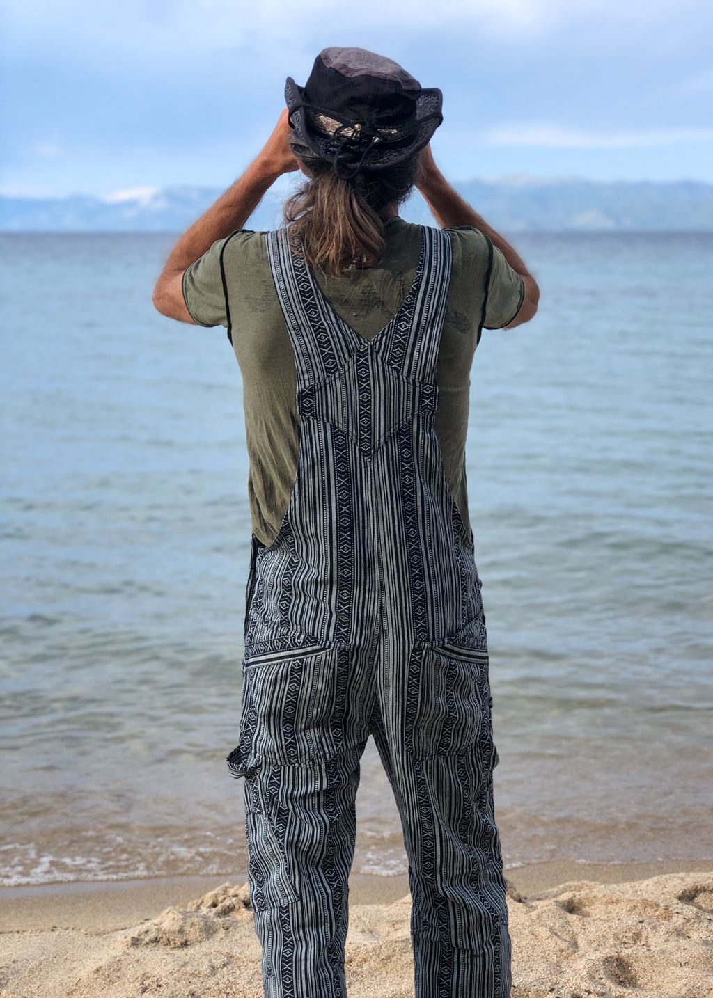 Men's OverAlls - Black/White Ikat