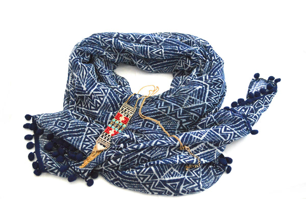 Bohemian Motif Navy Vegan Scarf and Chain Fringe Hawkin Vegan Necklace