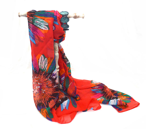 SunFlower Coral Vegan Scarf