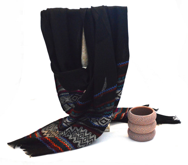 Deep Black Bohemian Vegan Shawl and Mocha Grape Vegan Bangles