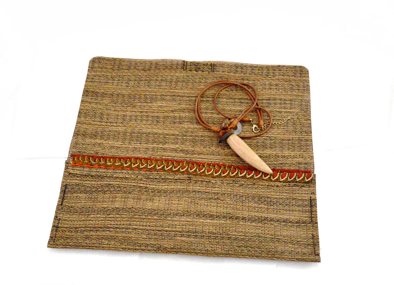 Bohemian Demelza Vegan Clutch Purse and Wooden Horn Vegan Necklace