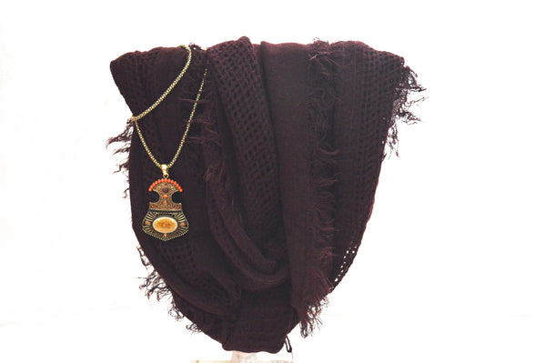 Burgundy Knit Infinity Vegan Scarf And Greek Necklace