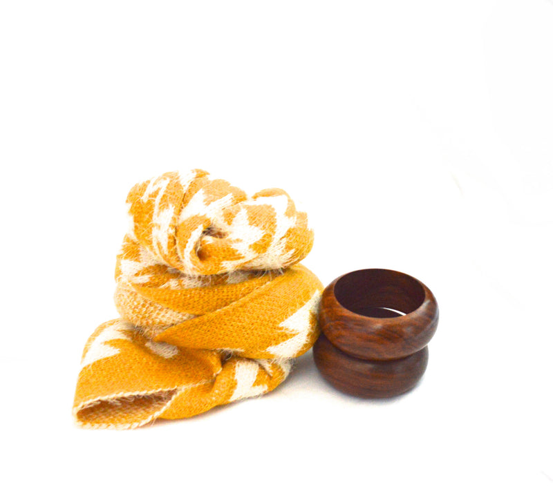 Yellow Leon Infinity Vegan Scarf and Adam Wood Bangle Bracelets