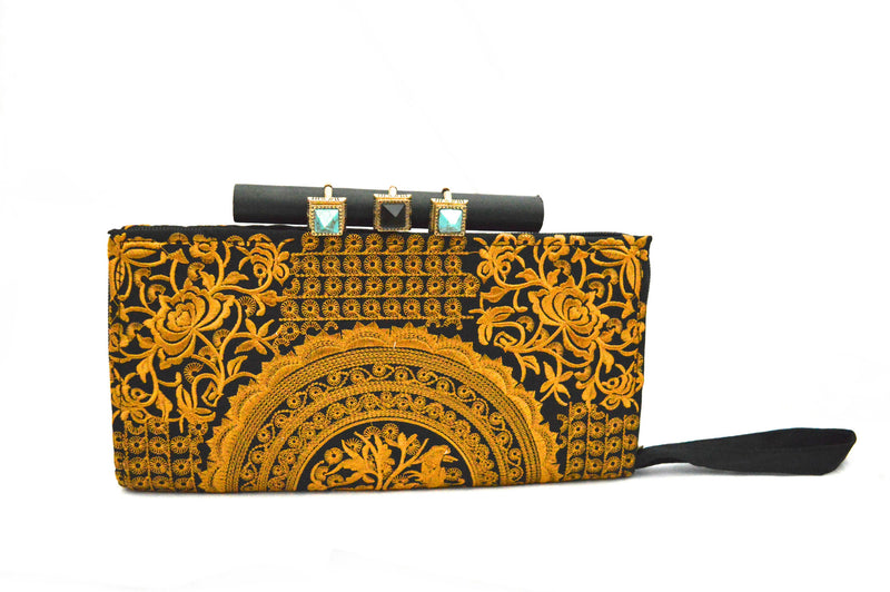 Bohemian Embroidery Vegan Clutch Purse and Zara Jan Bohemian Gold Vegan Cuff