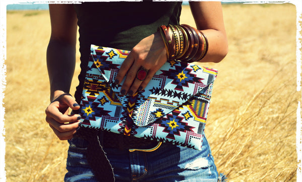 Belize Aztec Vegan Clutch Purse-Style
