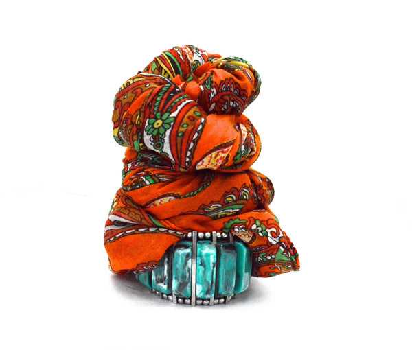 Bohemian Orange Infinity Vegan Scarf and Ashlyn Yilen Stretch Vegan Bracelet