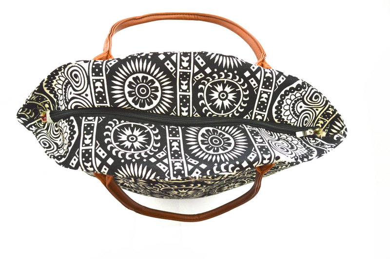 Elizabeth SunStar Oversized Bohemian Vegan Tote And Helena Rustic Wood Bangles