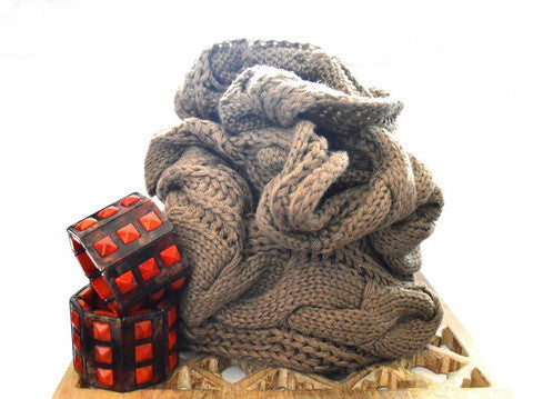 Pecan Valley Knit Vegan Scarf and Orange Dezra Stretch Vegan Bracelet