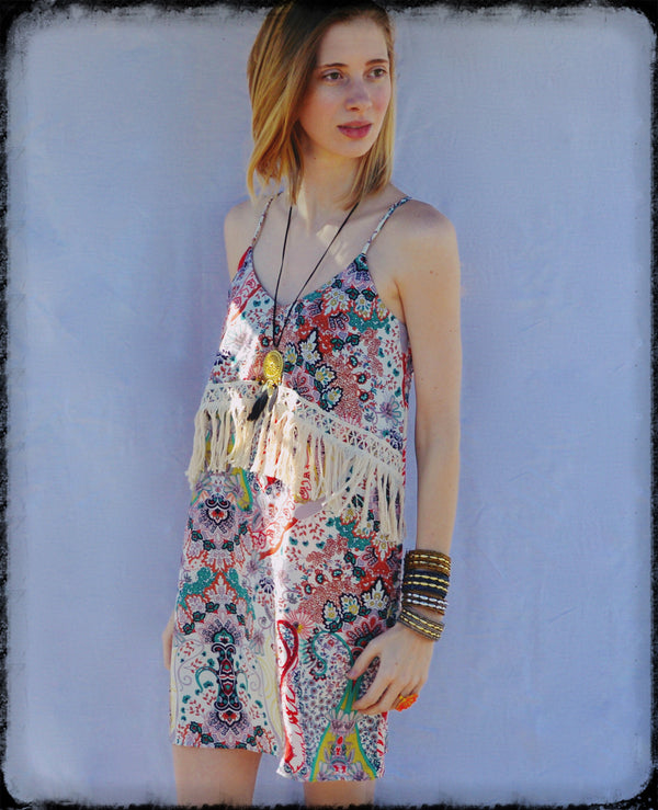 Rebecca  Bohemian Vintage Print Vegan Dress