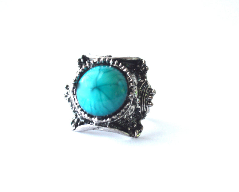 Bohemian Antique Silver Stone Scratched Metal Rings
