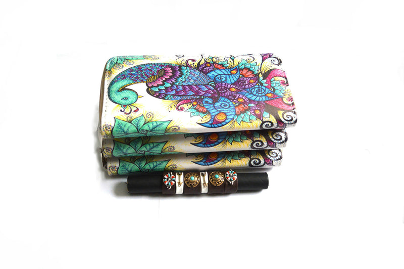 Bohemian BlueBell Vegan Wallet and Bohemian Belize Stretch Rings