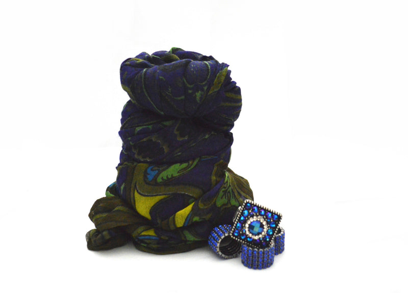 Bohemian Fiona Vegan Scarf and Square Mirabelle Stretch Ring