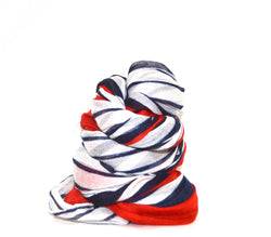 Red and Navy Stripe Infinity Vegan Scarf