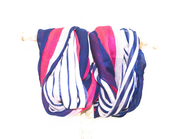 Infinity Navy and Fuchsia Stripe Vegan Scarf