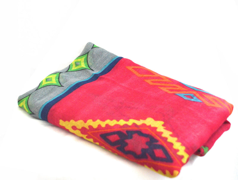 Blue and Deep Rose Pink Tribal Print Vegan Scarf