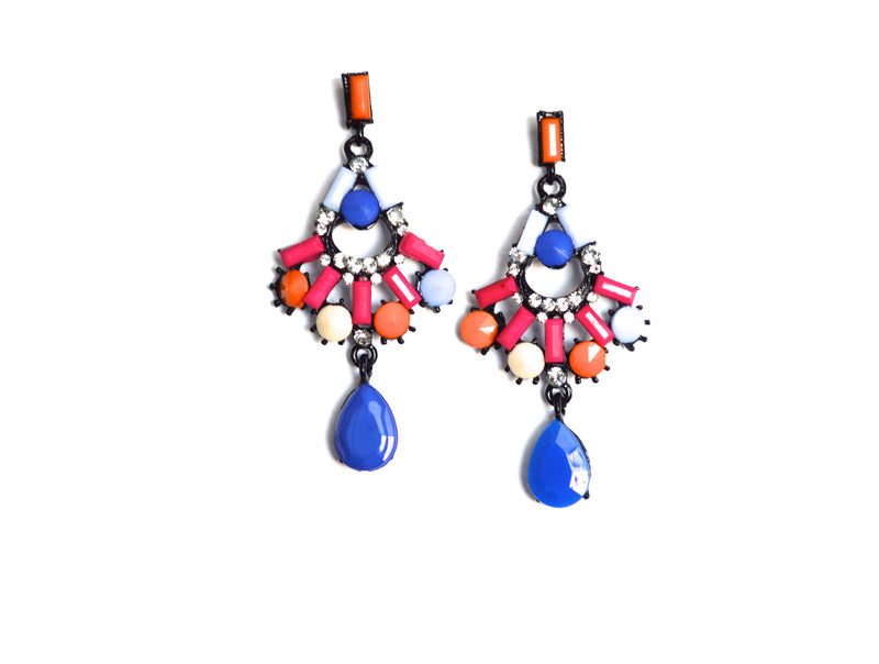 Crystal Orange and Pink Drop  Earrings