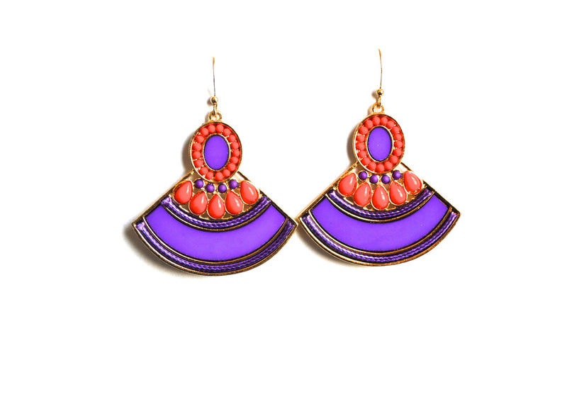 Bohemian Purple Fan Earrings