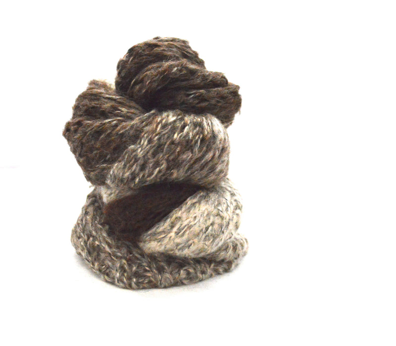 Nature Brown Infinity Vegan Knit Scarf