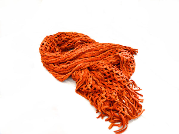 Gold and Orange Knit  Vegan Shawl