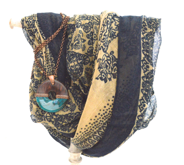 Classic bohemian Infinity Vegan scarf and Herien Ellet Necklace