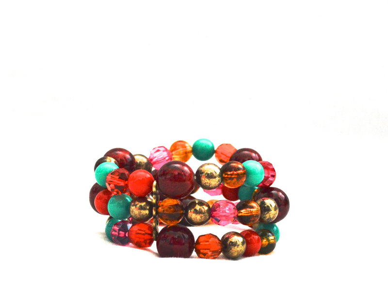 Rustic Burnt Umber Beaded Bracelet